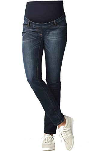 Christoff Damen Schwangerschaftsjeans Umstandshose Basic Five-Pocket-Jeans Röhre - elastisch slim fit - 102/91/8 - blau - W46/L34 (Five-pocket-jeans Basic)