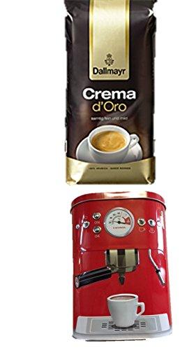 Dallmayr Crema d'oro Bohne, 1er Pack (1 x 1000g Beutel) + Kaffeedose neu 3 D Design rot