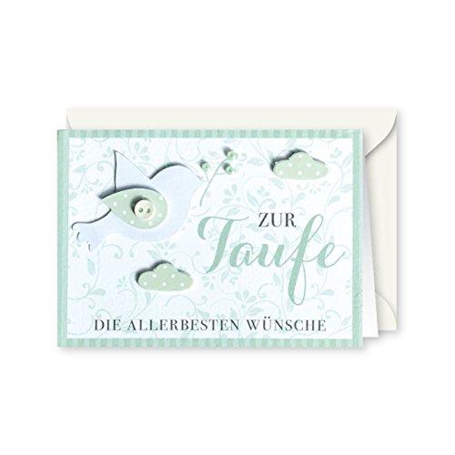 Knopfkarte 74 - Zur Taufe - Taufkarte - Mini-Karte
