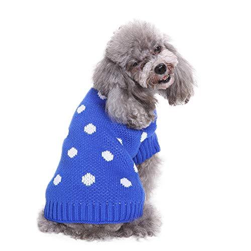 Amphia - Kleidung Hund Weihnachten,Haustier Hund Polka Dot Pullover - Haustier-Hundekatze-Winter-Warmer Punkt-Strickjacke-Mantel-Kostüm-Kleid(Blau,XXL) (Blau Polka Dot Kleid Kostüm)