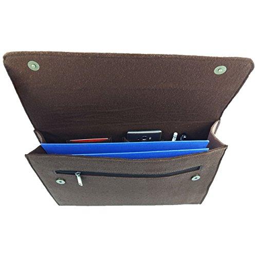 Venetto DIN A4 Business Aktentasche Arbeitstasche Herren Damen Unisex Filztasche Tasche aus Filz mit Echtleder-Applikationen (Grau) Braun