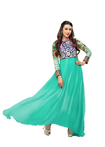 Clickedia Women's Heavy Georgette Semi-stitched Green Embroidered Floor Length Anarkali Suit - Dress Material  available at amazon for Rs.399