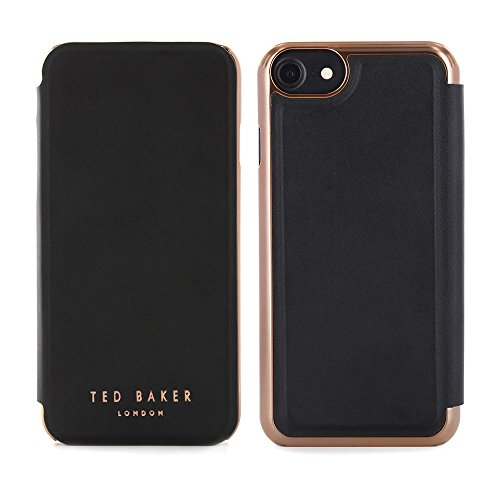 Official TED BAKER® Fashion Branded Mirror Folio Case for iPhone 8 / 7, Protective High Quality Wallet iPhone 8 / 7 Cover for Professional Women - SHANNON - Nude / Rose Gold black