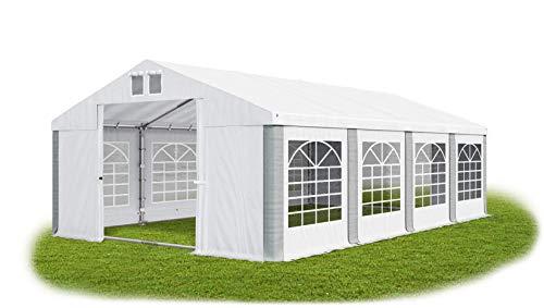 Das Company Partyzelt 4x8m wasserdicht weiß-grau mit Bodenrahmen 560g/m² PVC Plane Solide Festzelt Gartenzelt Summer Floor SD -
