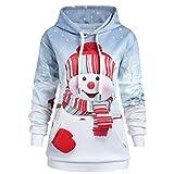 Zylione Damen Frohe Weihnachten Langarm Weihnachtspullover Kapuzenpullover mit Tunnelzug Schneemann Christmas Hoodie Longpullover Santa