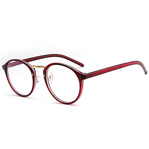 Nerdbrille Retro Rund Unisex Forepin® Dekogläser Klassisches Mode Damen/Herren Brillen - Rotweinfarbe