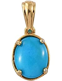 Sleeping Beauty Turquoise Solitaire Pendant in 14K Gold Overlay Sterling Silver 2 Ct