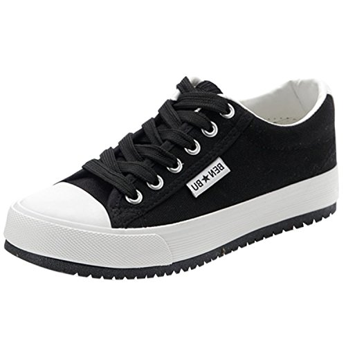 Oasap Women's Casual Low Top Flat Platform Sneakers Black