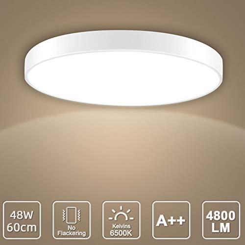 LED Deckenleuchte, LED Deckenlampe, Kaltweiß Warmweiß Rund Modern Led Deckenleuchten Schlafzimmer Küche Wohnzimmer Lampe für Balkon Flur Küche Wohnzimmer IP20[Energieklasse A+] (Kaltweiß, 48W(60cm))