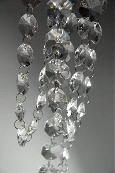 10 Feet Crystal Beads Chain Garland of Clear Chandelier Bead Lamp Chain