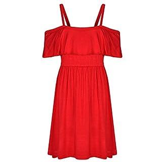A2Z 4 Kids Girls Skater Dress Kids Deigner's Plain Fashion Off Shoulder Dress - Red - 13