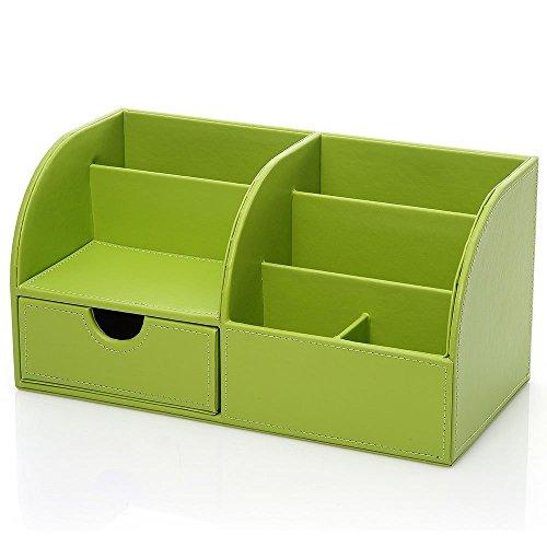 Lumanuby 1x Tisch-Organizer aus PU Leder Schreibtisch Tidy mit Schublade Ordnungssystem für Büro/Schule 28*14.5*14.5cm, Stifthalter Serie