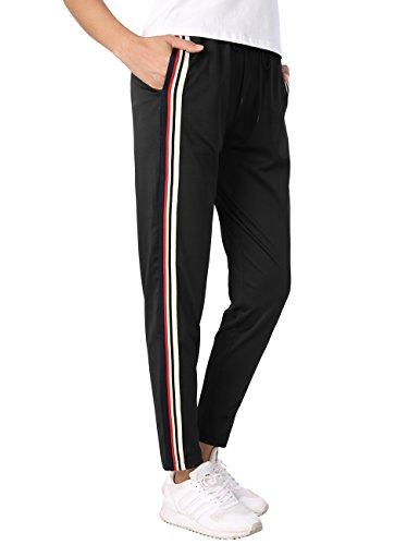 BaiShengGT Damen Gestreift Leggings Hose Verstellbarer Gummizug Stretch Fitness Jogginghose Freizeithose Schwarz #2 Medium