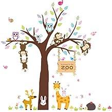 YeahiBaby Pegatinas de Pared Decorativas Infantil Vinilos de Animales Búho Mono Jirafa