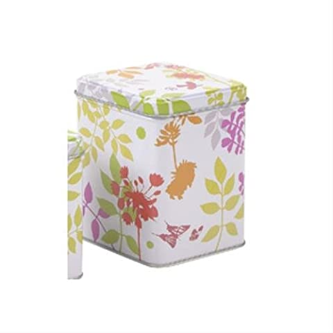 Virojanglor Floral Square Metal Coffee Tea Storage Tin Box 200g 87 x 87 x 115mm