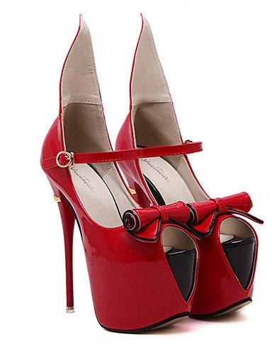WSS 2016 Chaussures Femme-Habillé / Soirée & Evénement-Noir / Rouge-Talon Aiguille-Talons / Bout Ouvert / A Plateau-Talons-Cuir Verni red-us8 / eu39 / uk6 / cn39