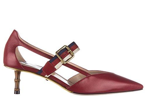 6a2ef636da0563 Gucci Damenschuhe Leder Pumps mit Absatz High Heels Rot