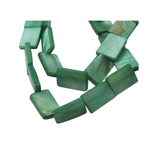 Strang 20+ Blasse Grün Gefärbten Schale 10 x 15mm Flach Rechteck Perlen - (Y07045) - Charming Beads (Strang Rechteck Flache Perlen)