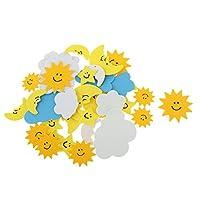 Veroda Pack of 30 Foam Mixed Shapes Sun Clouds Moon Sticker for Kids Children Craft DIY Work Decoration