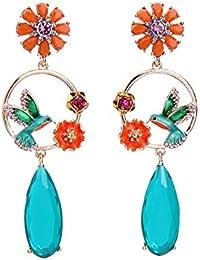 Chichengnian Pendientes de lágrima de moda Pendientes de flor de pájaro Pendientes de diamantes de imitación elegante para mujer