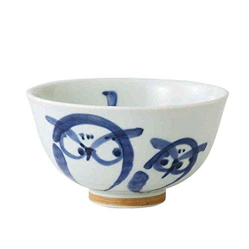 Saikai Cerámica Búho Par Japonés Tazón de arroz talla S azul 69071 de Japón