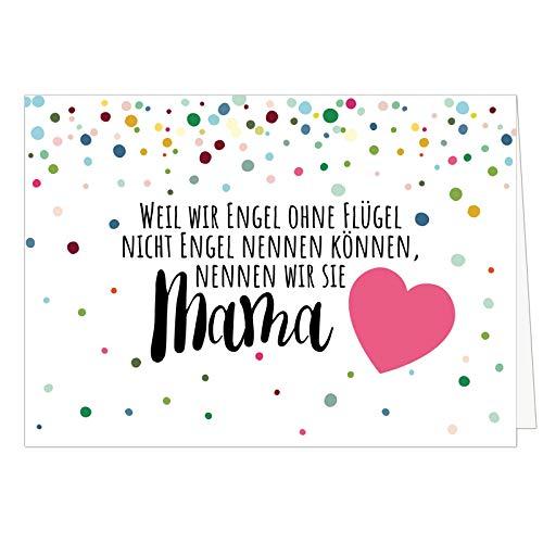 Große XXL (DIN A4) Karte zum Muttertag mit Umschlag/Engel ohne Flügel Mama/Edle Design Klappkarte/für Mama oder Mami/Moderne Maxi-Karte/zum Geburtstag