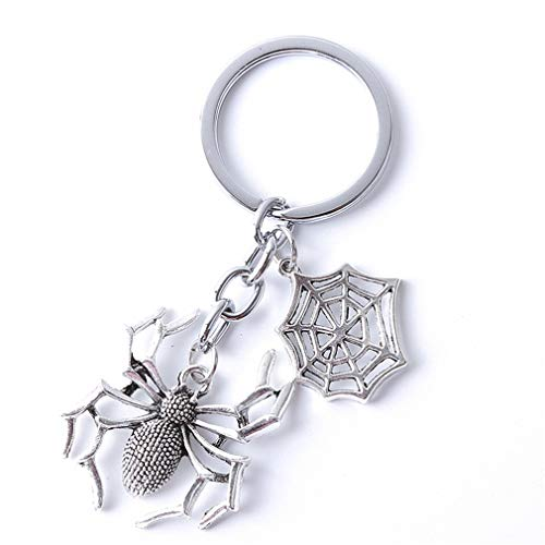 LnLyin Spinne Anhänger Schlüsselanhänger Punk Gothic Schlüsselanhänger Halloween Ornament Schlüsselanhänger Geschenk