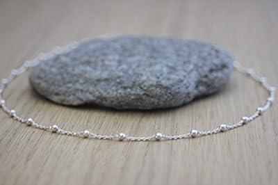 Collier ras de cou argent massif chaine perlée