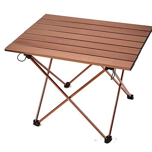 MQQ Tragbares Klapptisch Picknick und Camping Tisch zusammenklappbaren Akkordeon Aluminiumrahmen, Roll Up Tischplatte aus Aluminium - Kordelzug-Tragetasche Ultra-Leicht (Color : Champagne)
