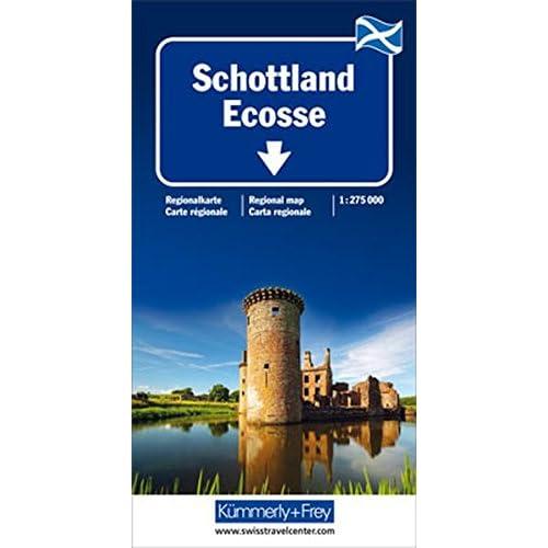 Ecosse (Scotland), carte routière et touristique - Echelle : 1/275 000