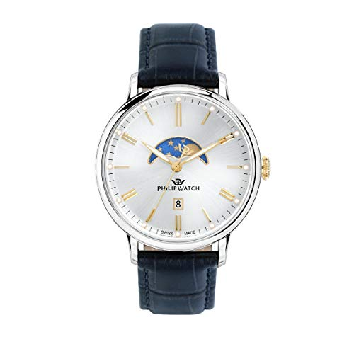 PHILIP WATCH Mens Moon Phase Quartz Watch with Leather Strap R8251595001