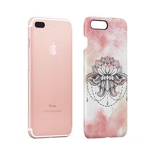 Henna Golden Ornamented Mandala Dünne Rückschale aus Hartplastik für iPhone 7 Plus & iPhone 8 Plus Handy Hülle Schutzhülle Slim Fit Case cover Pink Lotus Henna