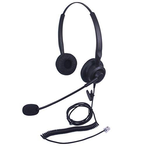 Xintronics Casque Téléphone Fixe RJ9 Dual avec Micro Anti-bruit, Écouteurs de Centre d'appel pour Avaya Mitel Polycom Plantronics Nortel Norstar Meridian Gigaset (X20A2)