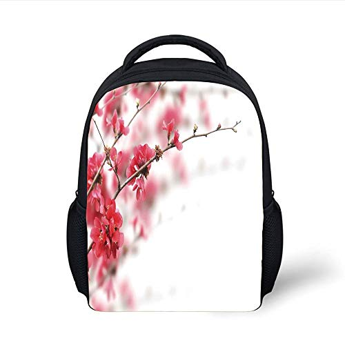 Spring,Nature Beauty Cherry Blossom Branches Misty Inspirational Japanese Blooms Image,Hot Pink White Plain Bookbag Travel Daypack ()