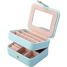 Aulola® Joyero de piel sintética, 2capas, organizador con espejo, para collares, pendientes, joyas, pulseras, caja de almacenamiento, tamaño pequeño