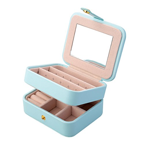 Jewellery Box, Aulola® Portable Travel Faux Leather Jewellery Case and Display Case 2 Layers with Mirror for Earrings Necklace Jewels Bracelets Organizer Jewelry Storage Box, Girls and Women Gift, Small Size (Light blue, Pack of 1)
