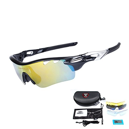 cdd55757b1 OBAOLAY Men Polarized Sports Sunglasses with 5 Interchangeable Lenses Women Cycling  Glasses for Fishing Hiking Golf