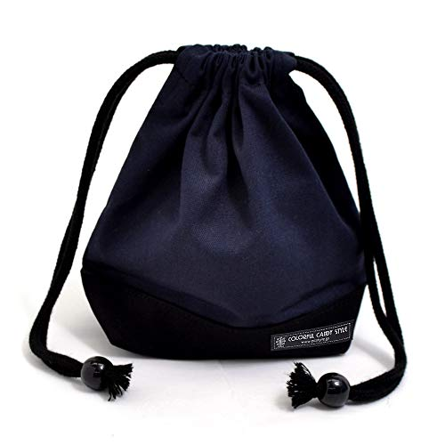 Drawstring Gokigen lunch (small size) with gusset bag cup deep navy x Ox black made in Japan N3567700 (japan import)