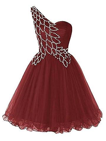PRTS Damen One Shoulder Ballkleider Kurz Organza Abendkleid Partykleid Festkleid Heimkehr Kleid Burgund EUR36
