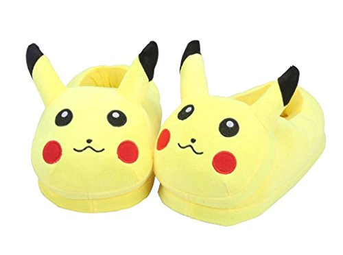 Wanziee Unisex Pikachu Pokemon Plush Slippers - Pokemon Go- Pikachu Animal Cosplay (Yellow) - One Size Slippers for Dress Up Cartoon Party Halloween for Adults/Girls/Boys (fits UK Sizes- 3.5-8)