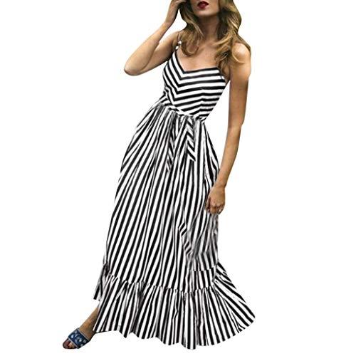 Chejarity Sommerkleid Damen Sexy Ärmellos Lang Kleid Maxikleid Gestreift V-Ausschnitt Cocktailkleid Party Strandkleid Maxi Kleid Wickelkleider (M, Schwarz) -