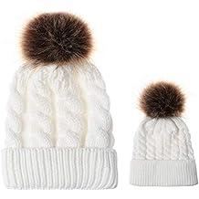 Ruiting 2PCS parent-enfant Chapeau chaud Mère et bébé fille et Fils Hiver  chaud Bonnet 8cecd92a6ff