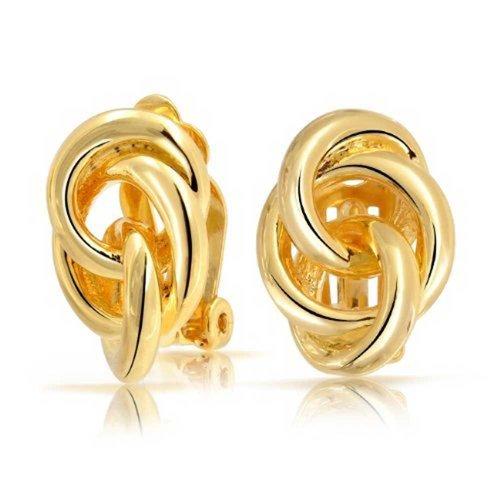 Verriegelung Seil Liebe Knoten Schelle Für Damen Nicht Durchstochene Ohren Ohrclips Ohrringe Poliert 14K Gold Messing