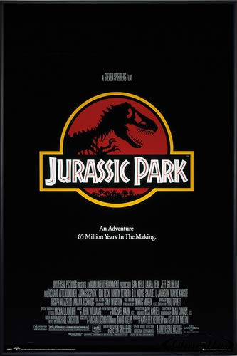 Close Up Jurassic Park Poster Key Art (93x62 cm) gerahmt in: Rahmen schwarz