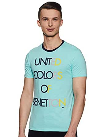 United Colors of Benetton Men's Printed Regular fit T-Shirt (19P3096E0001I_AD8_S_Blue