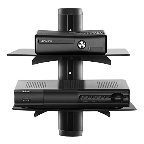 Bps 2 Tiers Glass Floating Shelf Wall Mount Shelves For Bluray Av Receiver Cd DVD Rack Media Video Lcd Led Tvs Ect Black Unit