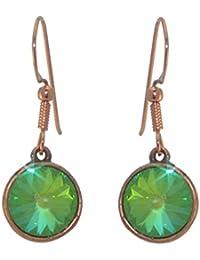 RIVOLI Antik Kupfer Ultra grün Swarovski Crystal Haken Ohrringe