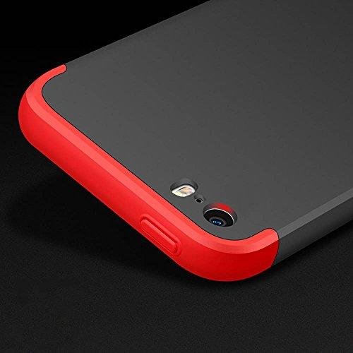Coque iPhone SE 5 5S, uiano® Protection 360 degrés Housse complète Protection 3 en 1 Combinaison Anti-Scratch PC Ultra-mince Coque antichoc Perfect Fit pour iPhone SE 5 5S Noir+Argent + verre trempé Noir + Or
