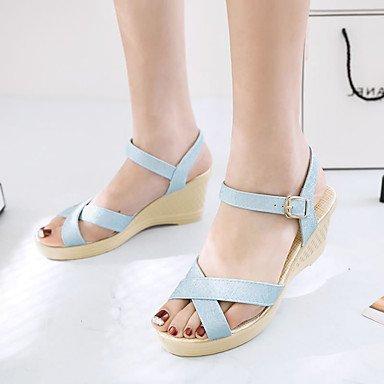 RUGAI-UE Estate Moda Donna Sandali Casual PU scarpe tacchi comfort,blu,US11 / EU43 / UK9 / CN44 Blue