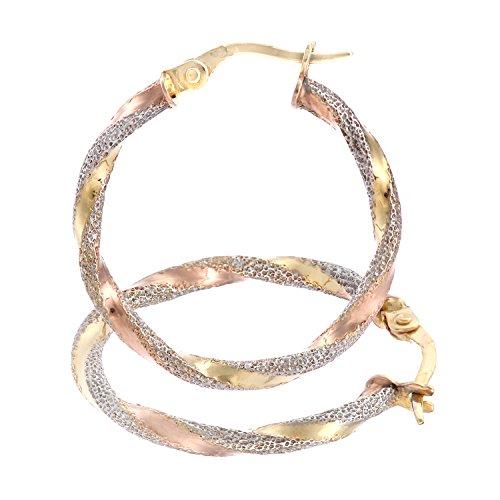 Citerna Damen-Ohrhänger 9 Karat 375 Tricolor SIL16043Col (Ohrringe Hoop Tri-color)